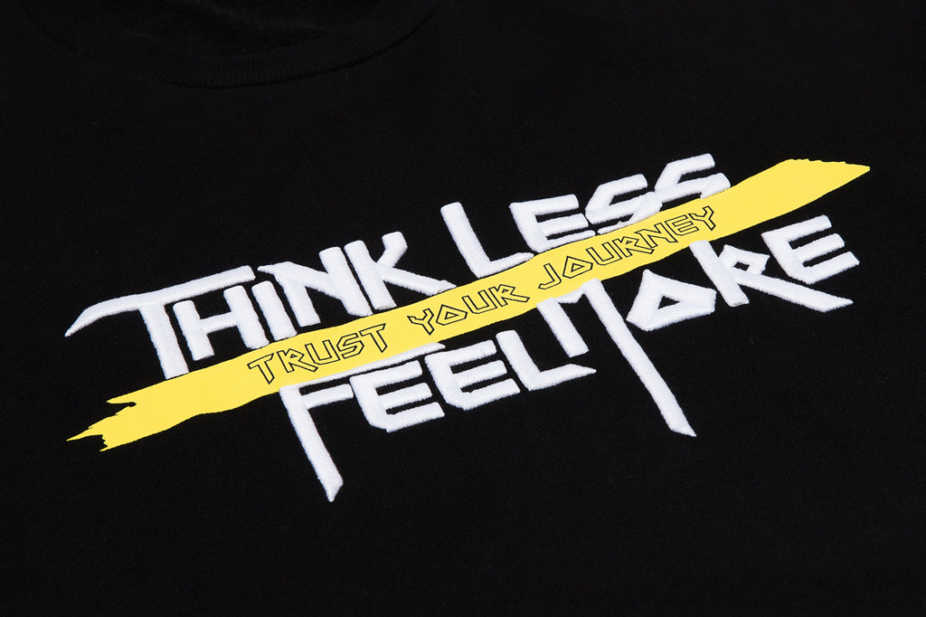 XPX 'THINK LESS FEEL MORE' EMBROIDERY BLACK CREW NECK SWEATER