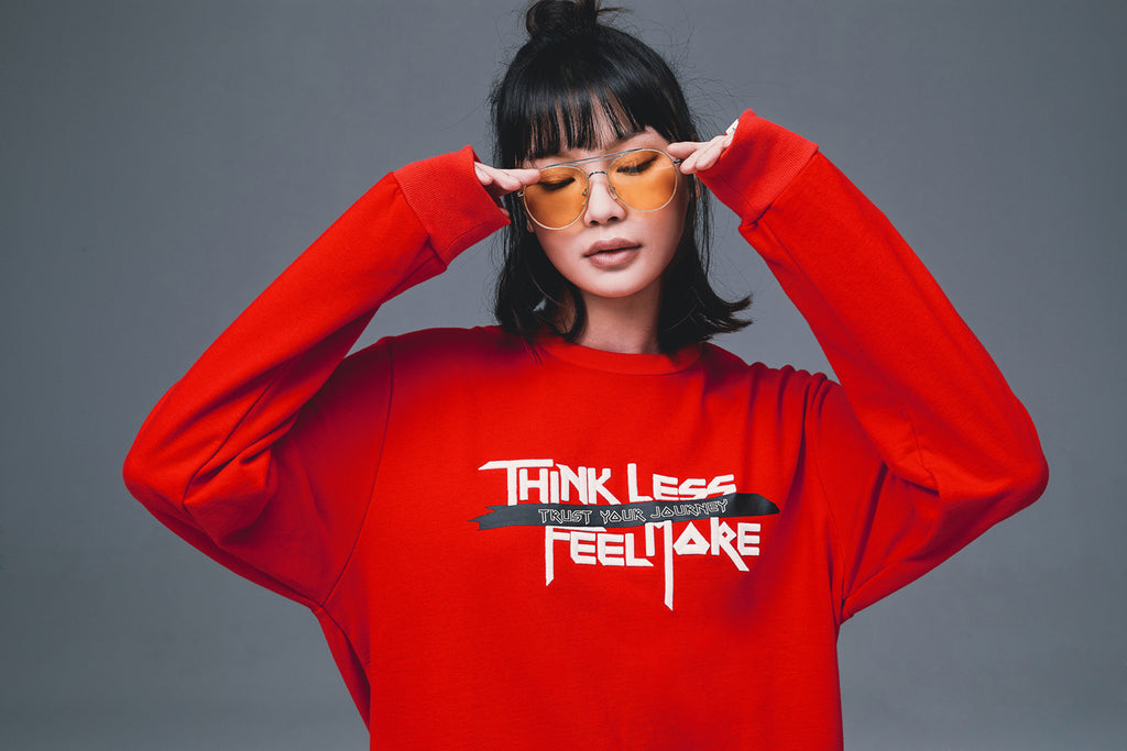 XPX 'THINK LESS FEEL MORE' EMBROIDERY RED CREW NECK SWEATER