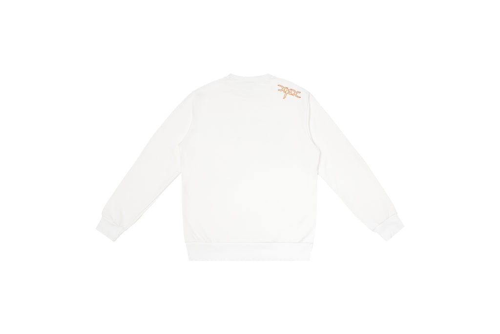 XPX 'THINK LESS FEEL MORE' EMBROIDERY WHITE CREW NECK SWEATER
