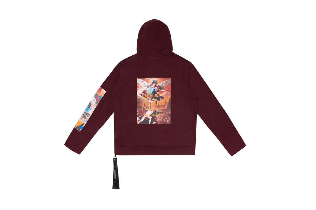 'XPX 'LIFE IS A JOURNEY' PAINTING BURGUNDY HOODIE