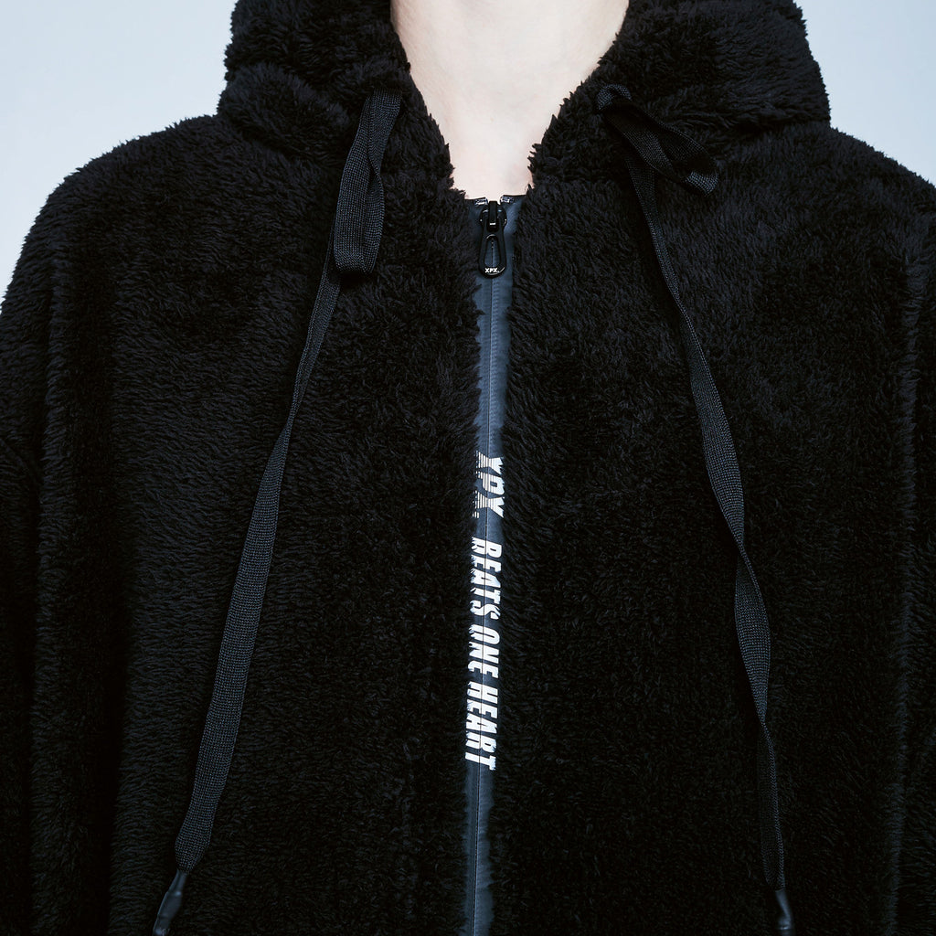 XPX ECO FUR BACK PRINT BLACK HOODED JACKET