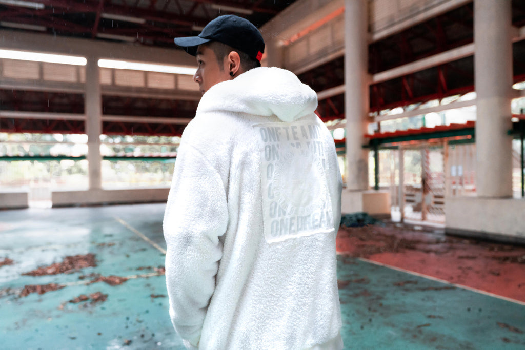 XPX ECO FUR BACK PRINT WHITE HOODED JACKET