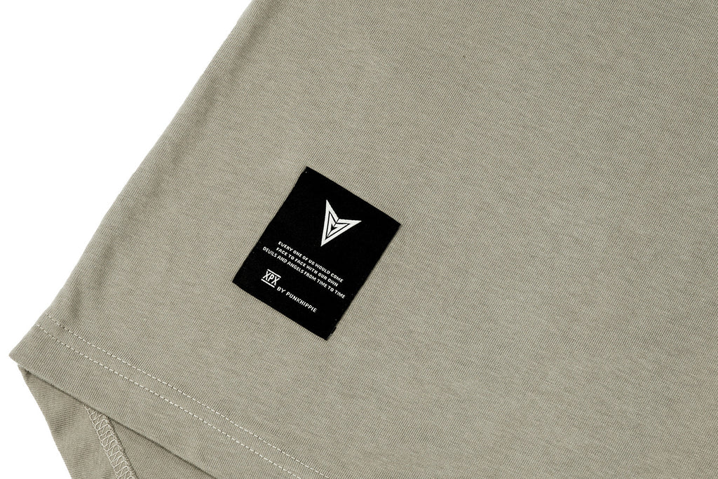 'XPX PEACE LOGO BACK ZIP TAUPE CREW NECK TEE