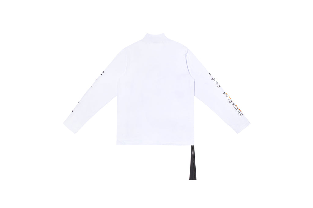 XPX 'STAY PATIENT' TURTLENECK WHITE LONG SLEEVE TEE