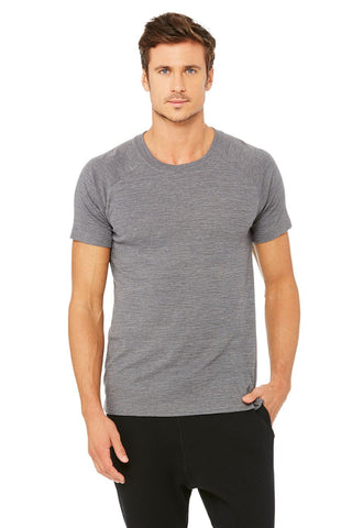 men Alo raglan crew neck tee grey