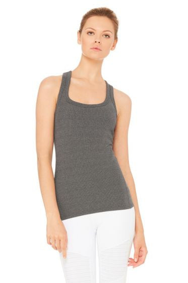 Alo rib support tank stormy heather grey