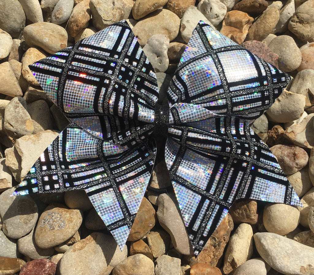 SILVER PLAID BOW