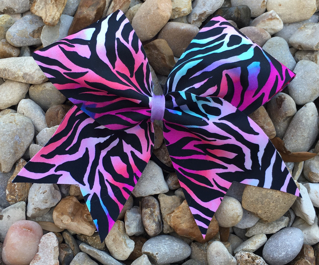 Colorful zebra bow