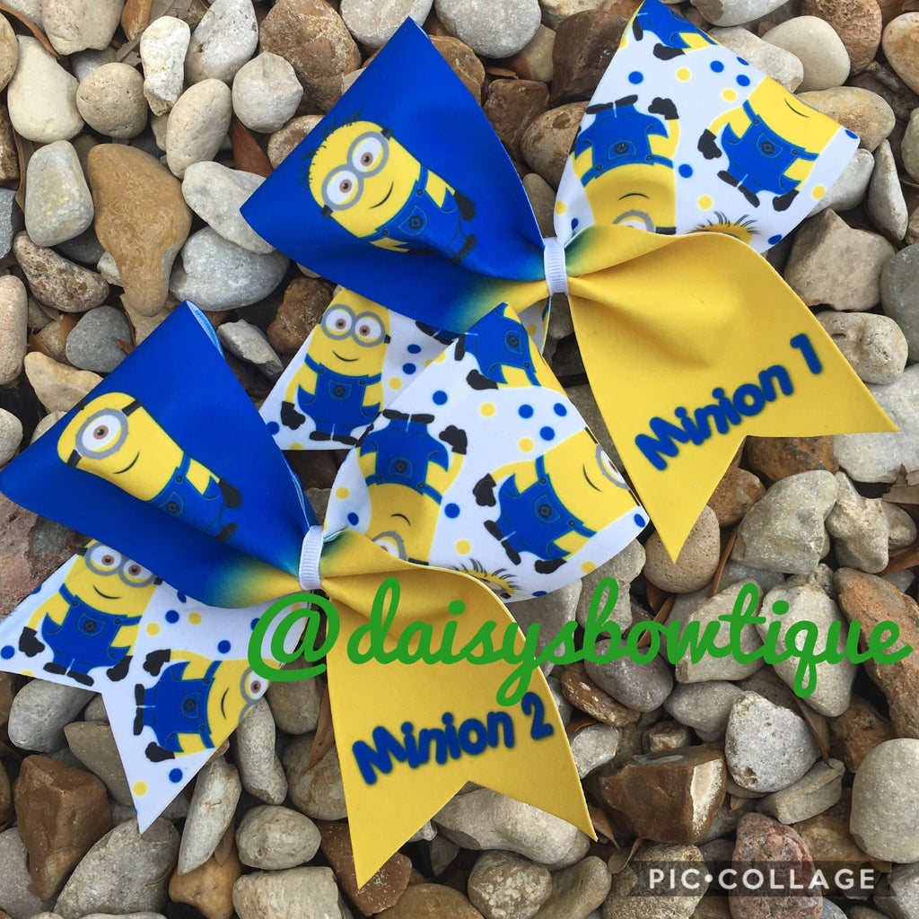 Minion 1 & 2 cheer bow set