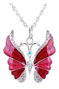 Butterfly Pendant Necklaces Antique Silver