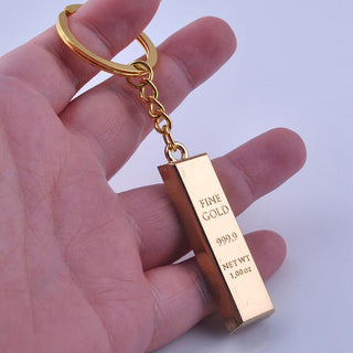 Metal Faux Gold Bar Bullion Keychain