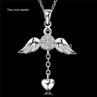 Angel wings heart necklace with Zircon