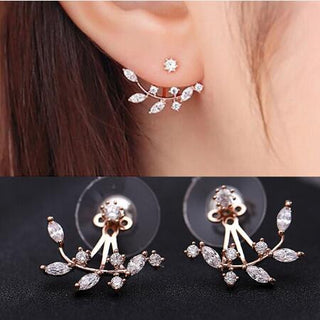 Silver Rose Gold Zircon Leaf Ear