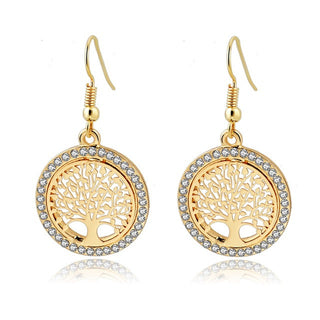 Gold Plated Crystal Earring With Tree Of Life