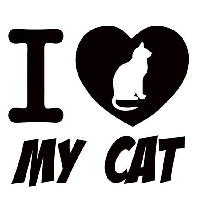 15.8*14CM I LOVE MY CAT Fun Pet Cat Car Sticker