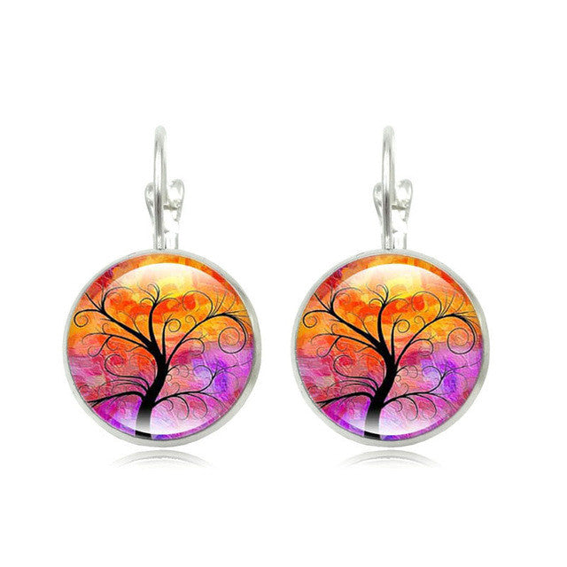 Tree of Life Glass Round Earrings