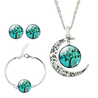 Cat Necklace + Earrings + Bangles Bracelets Sets