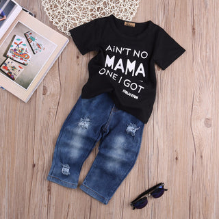 Infant T-shirt Tops Cotton + Denim Pants 2pcs