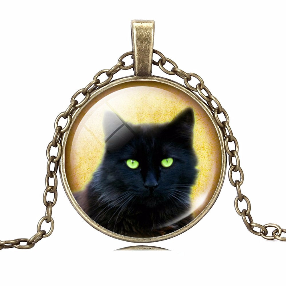Cabochon Silver Bronze Cat Necklace