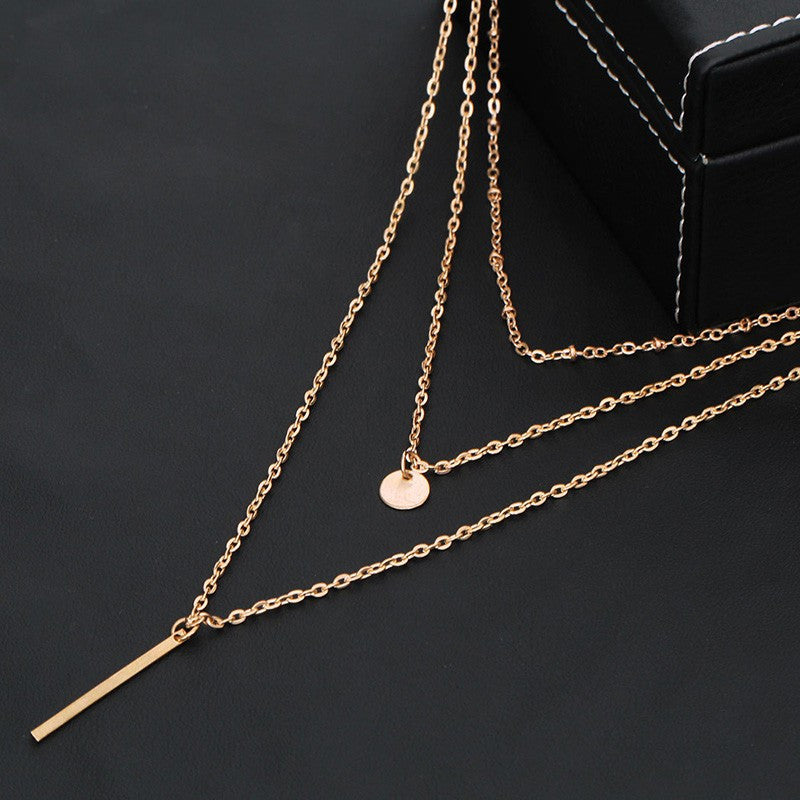 Simple Gold Silver Plated Multi Layers Necklace