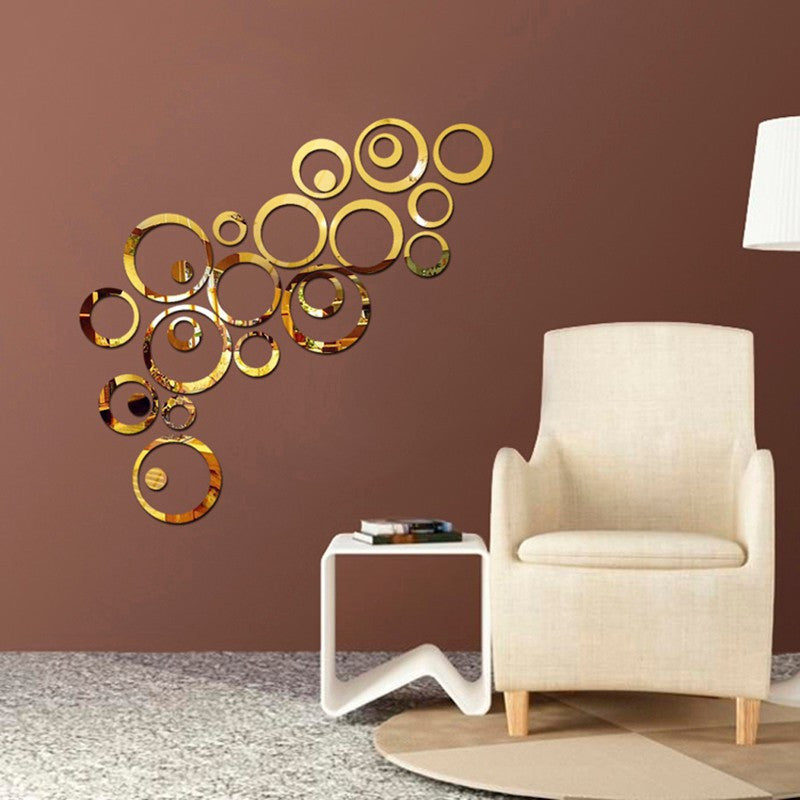 3D Wall Stickers Circles Mirror Style