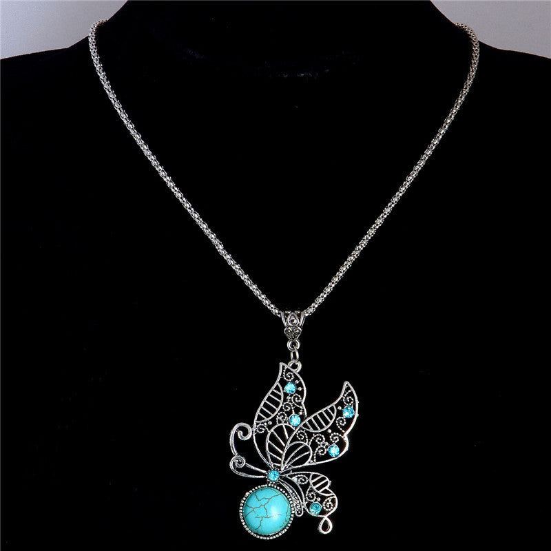 Turquoise Stone Butterfly Hollow Pendant