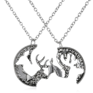 Deer head heart hunting necklace