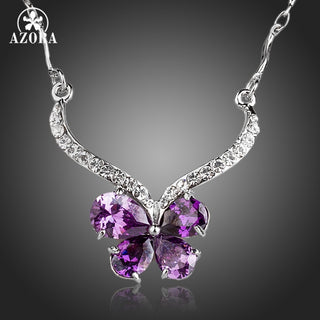 Butterfly Purple Cubic Zirconia Necklace