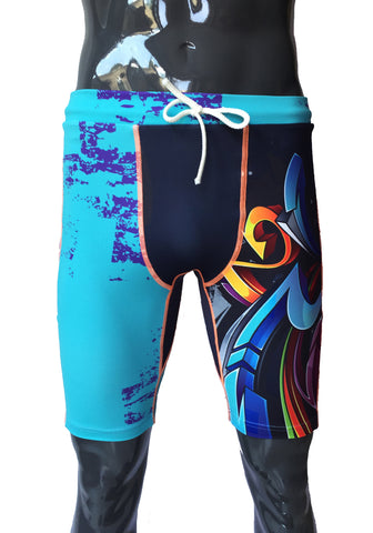 Double Layer Tech Shorts - New Graffiti - LIQUIDSALT activewear