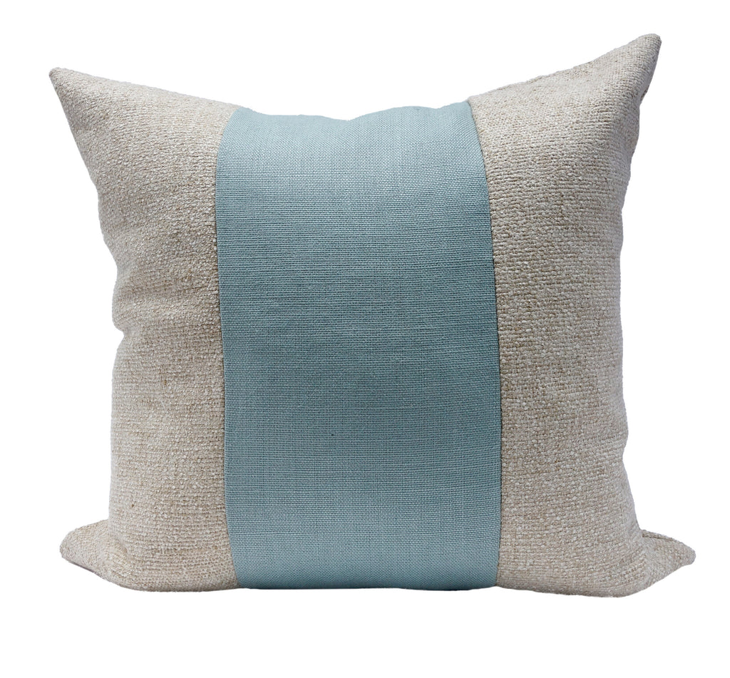 Square Throw Pillow - Slubby & Knot Linen - Wheat/Ocean