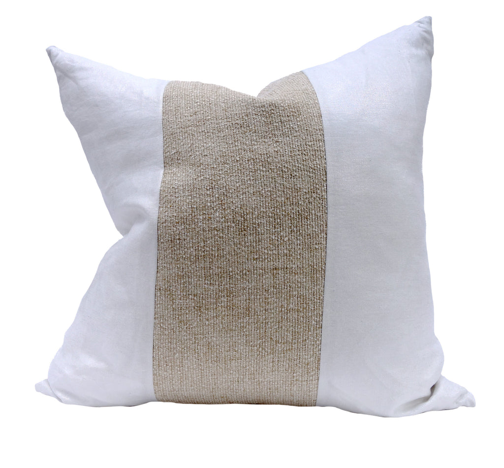 Square Throw Pillow - Metallic & Knot Linen - White/Wheat