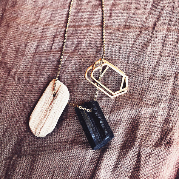 Regina Dabdab Black Tourmaline, Driftwood & Gold Necklace