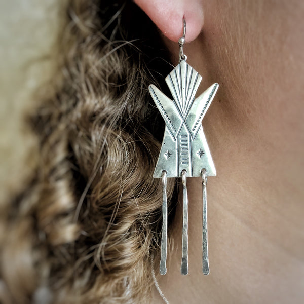 Carved Silver Tipi Earrings - Jennifer Jesse Smith