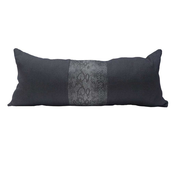 Lumbar Throw Pillow - Slubby Linen & Cobra - Steel/Smoke