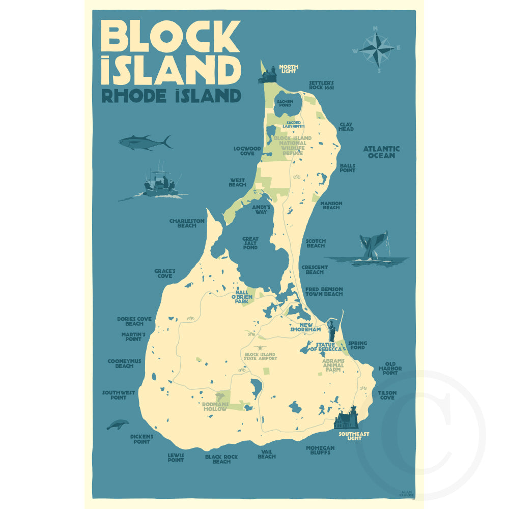 Block Island Map - RI