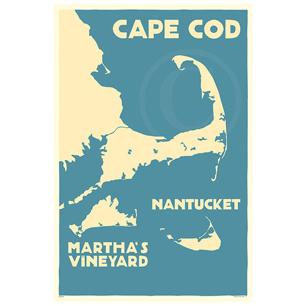 Cape Cod, MV, Nantucket Map - MA