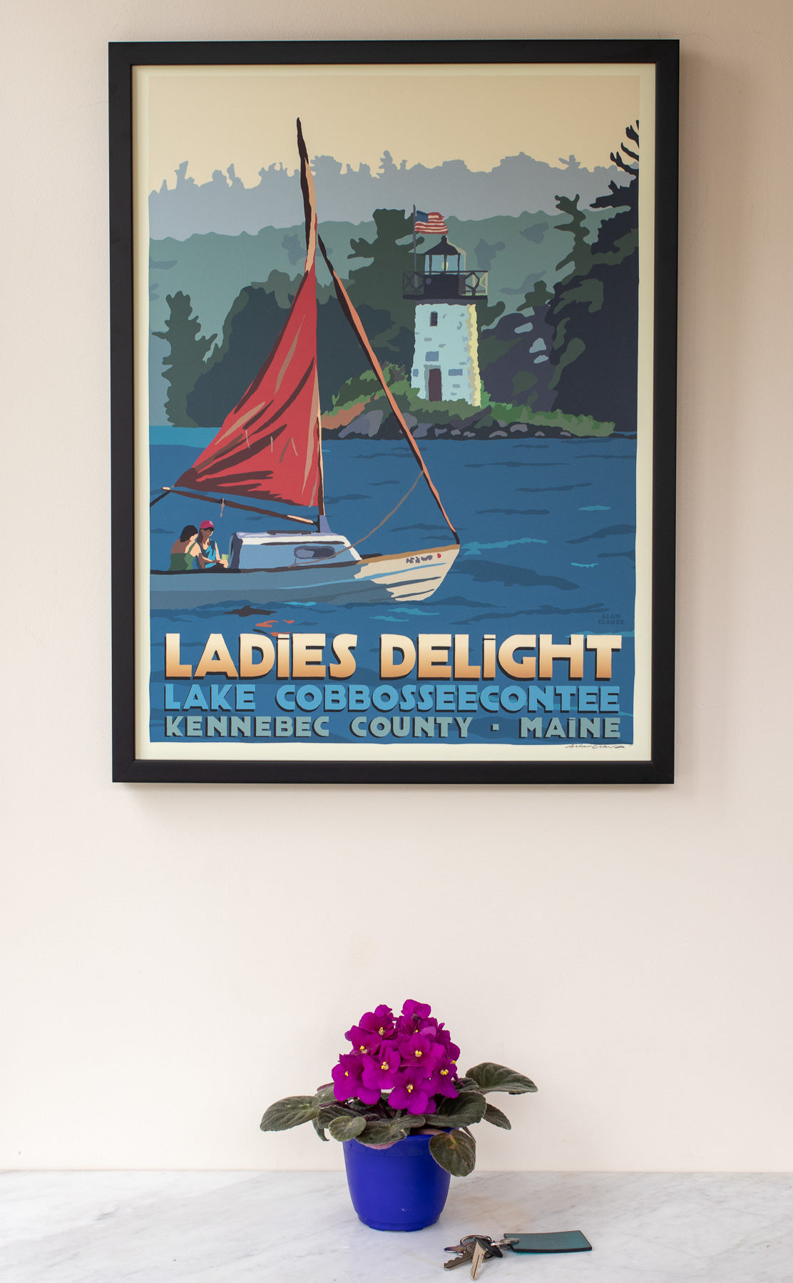 "Sailing Ladies Delight Lighthouse Art Print 18"" x 24"" Framed Travel Poster"