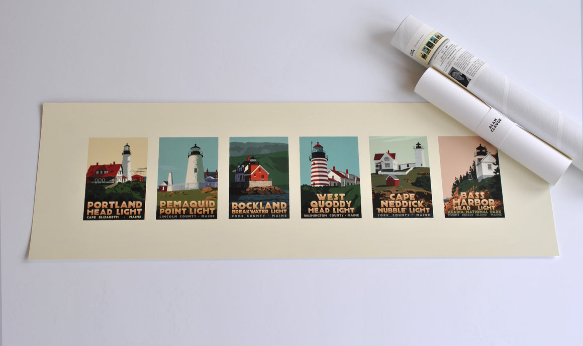 "Maine Lighthouse Series Art Print 12"" x 36"" Travel Poster - Maine"