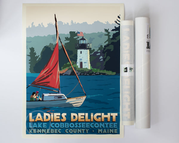 Summer in Maine USA Beach Fashion Lady Dance Sailing Boat Tourism Travel Vintage Poster Repro FREE Shipping in USA Shipped Rolled-Up