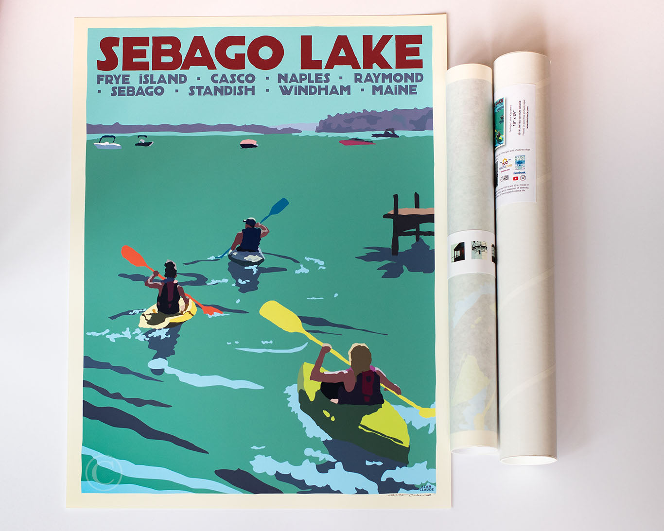 "Sebago Lake kayakers Art Print 18"" x 24"" Travel Poster - Maine by Alan Claude"