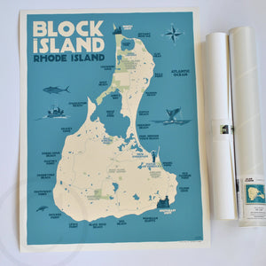 "Block Island Map Art Print 18"" x 24"" Travel Poster - Rhode Island"