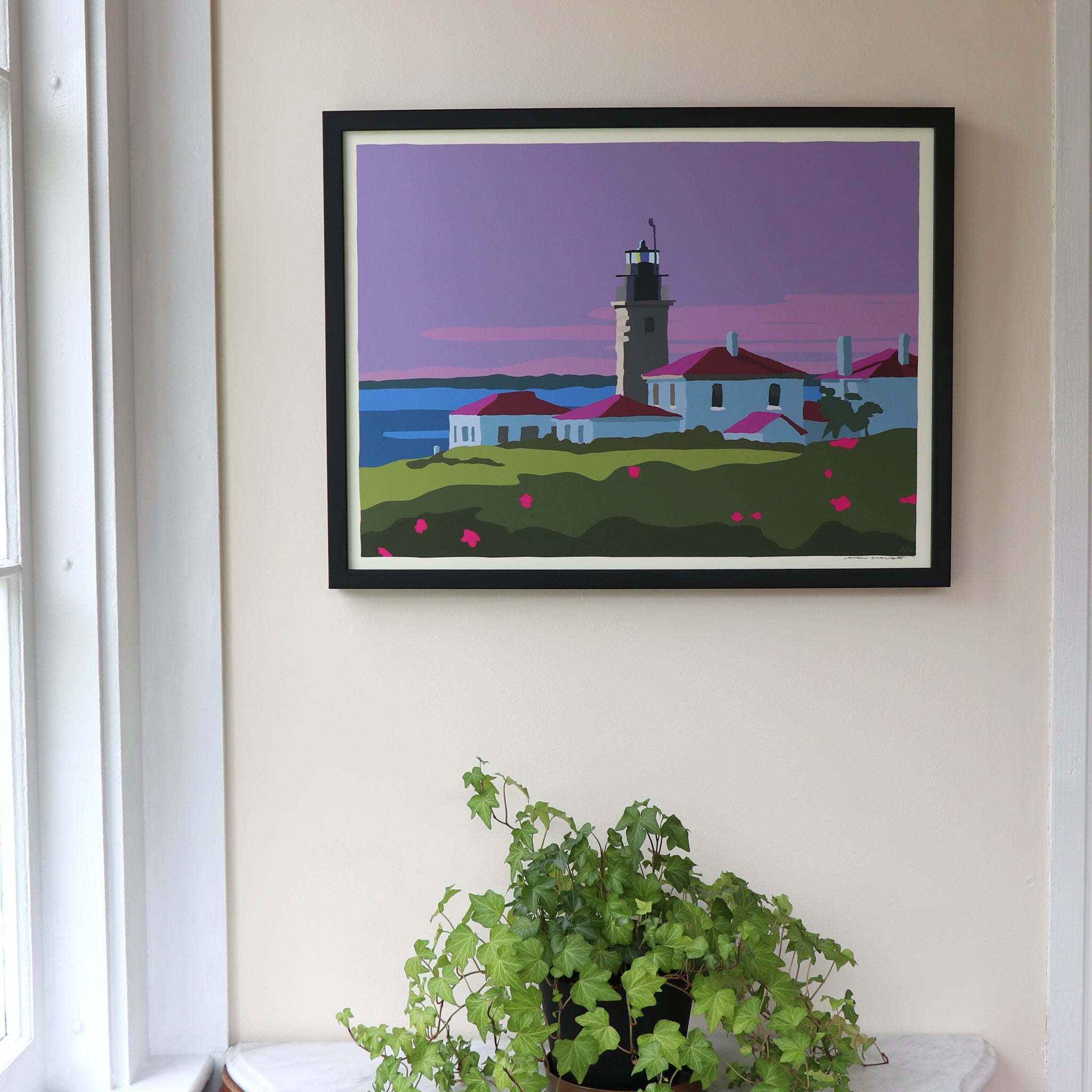 "Sunrise At Beavertail Light Art Framed Print 18"" x 24"" Wall Poster - Rhode Island"