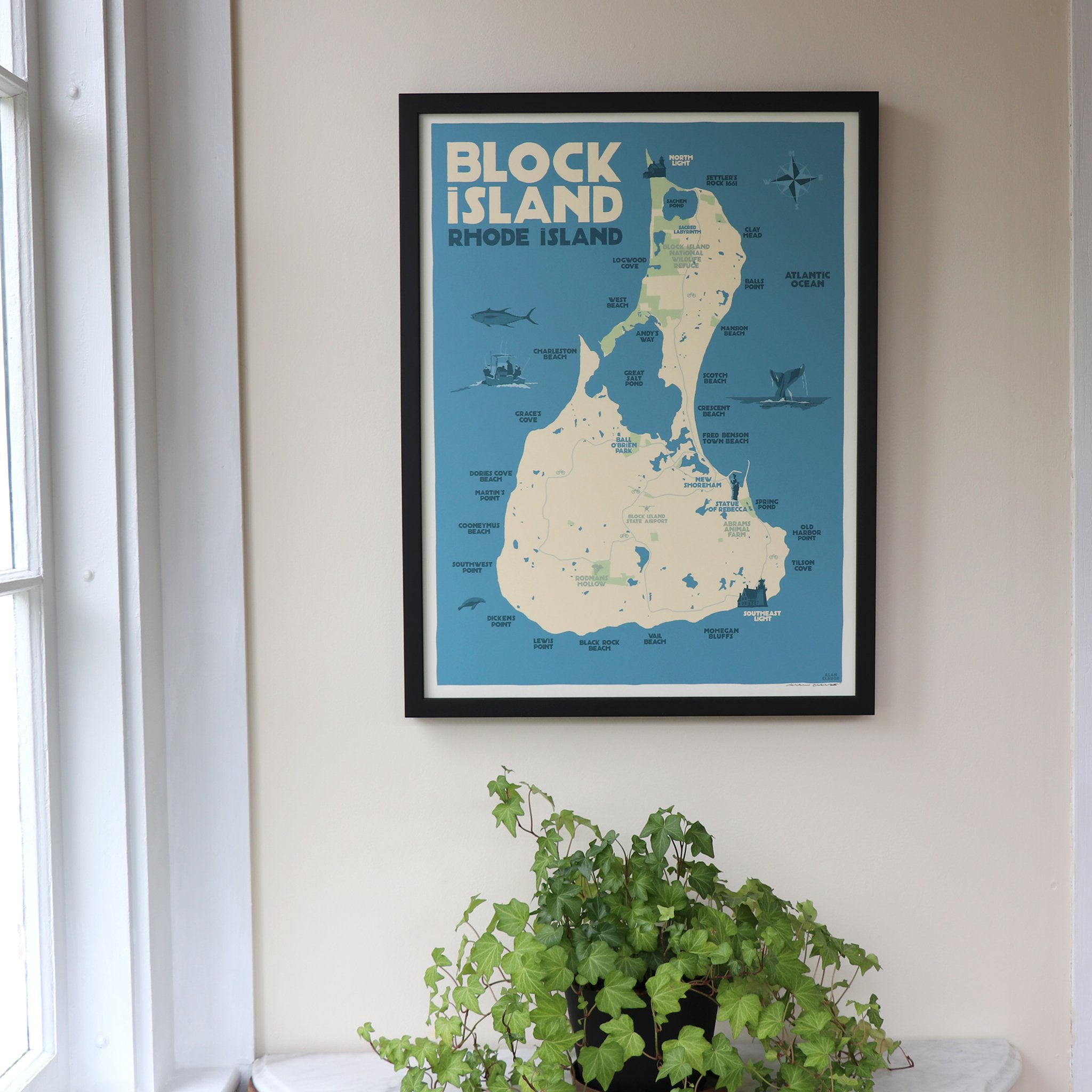 "Block Island Map Art Print Framed 18"" x 24"" Travel Poster - Rhode Island"