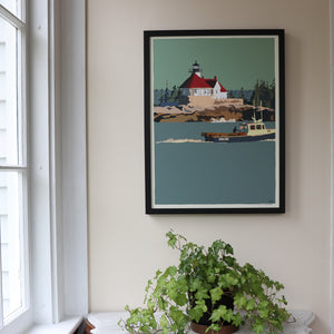"Lobstering at the Cuckolds Light Art Framed Print 18"" x 24"" Wall Poster - Maine"
