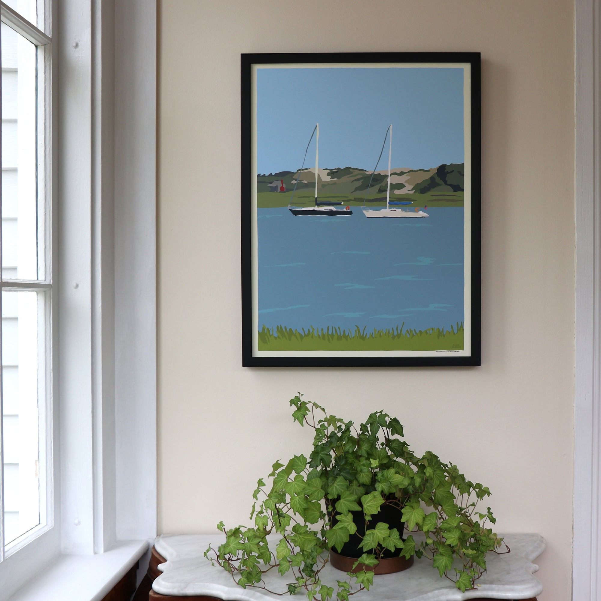 "Sailboats at Sandy Neck Art Framed Print 18"" x 24"" Wall Poster - Cape Cod"