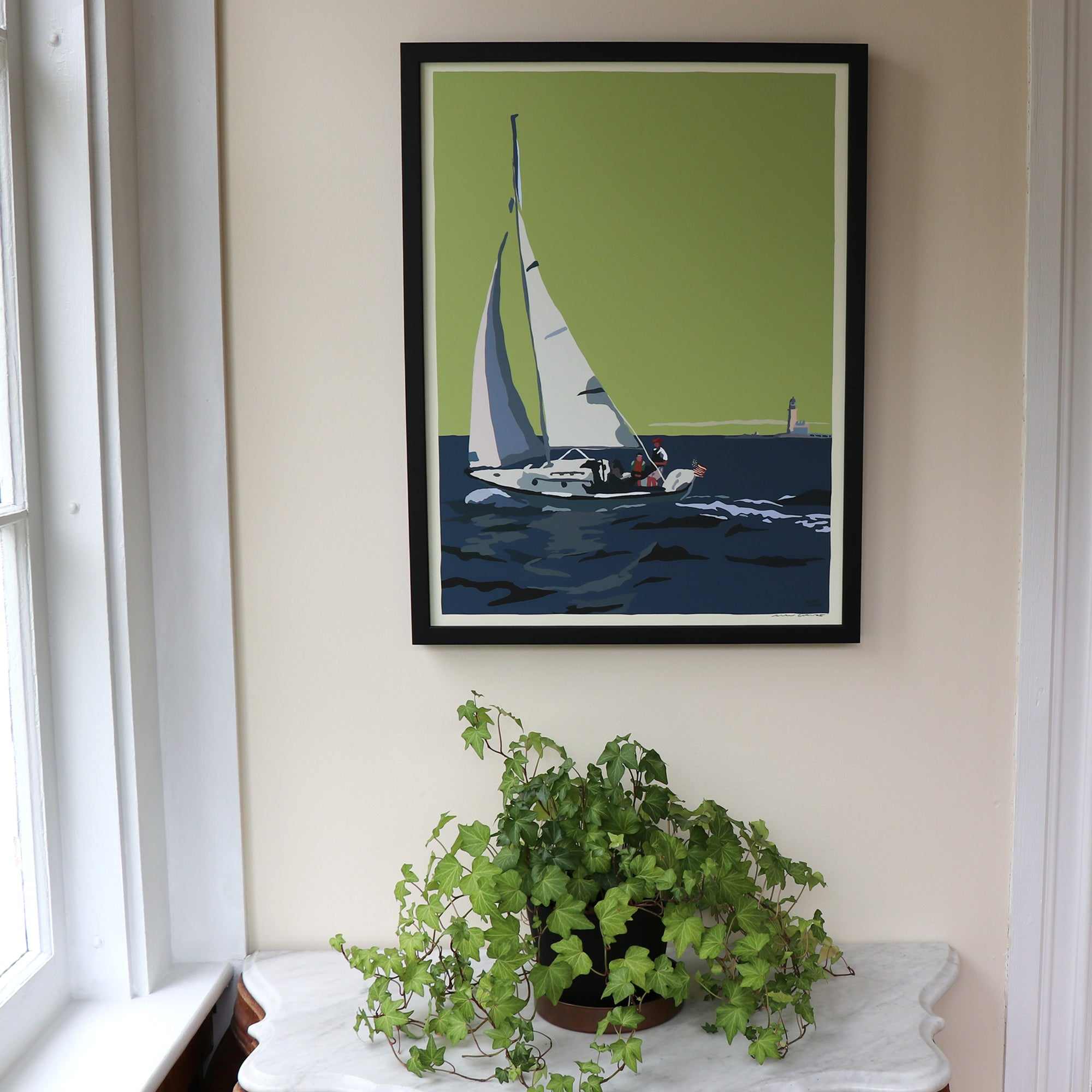 "Sailing Half Way Rock Light Art Framed Print 18"" x 24"" Travel Poster - Maine"
