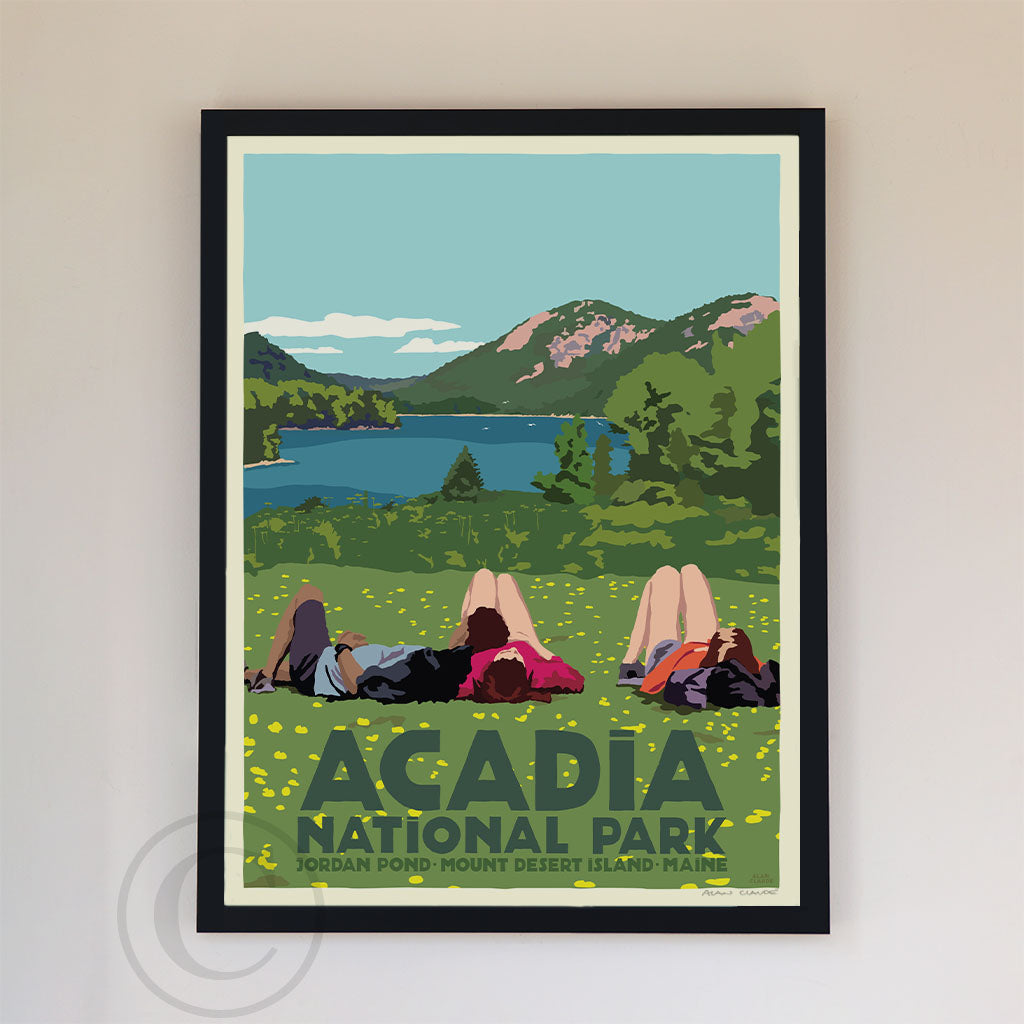 "Hikers In Acadia National Park Art Print 18"" x 24"" Framed Wall Poster By Alan Claude"