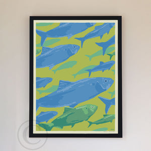 "Alewives On The Move Art Print 18"" x 24"" Framed Wall Poster By Alan Claude"