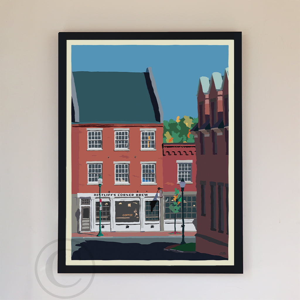 "Cafe in Gardiner Art Print 18"" x 24"" Framed Wall Poster By Alan Claude"