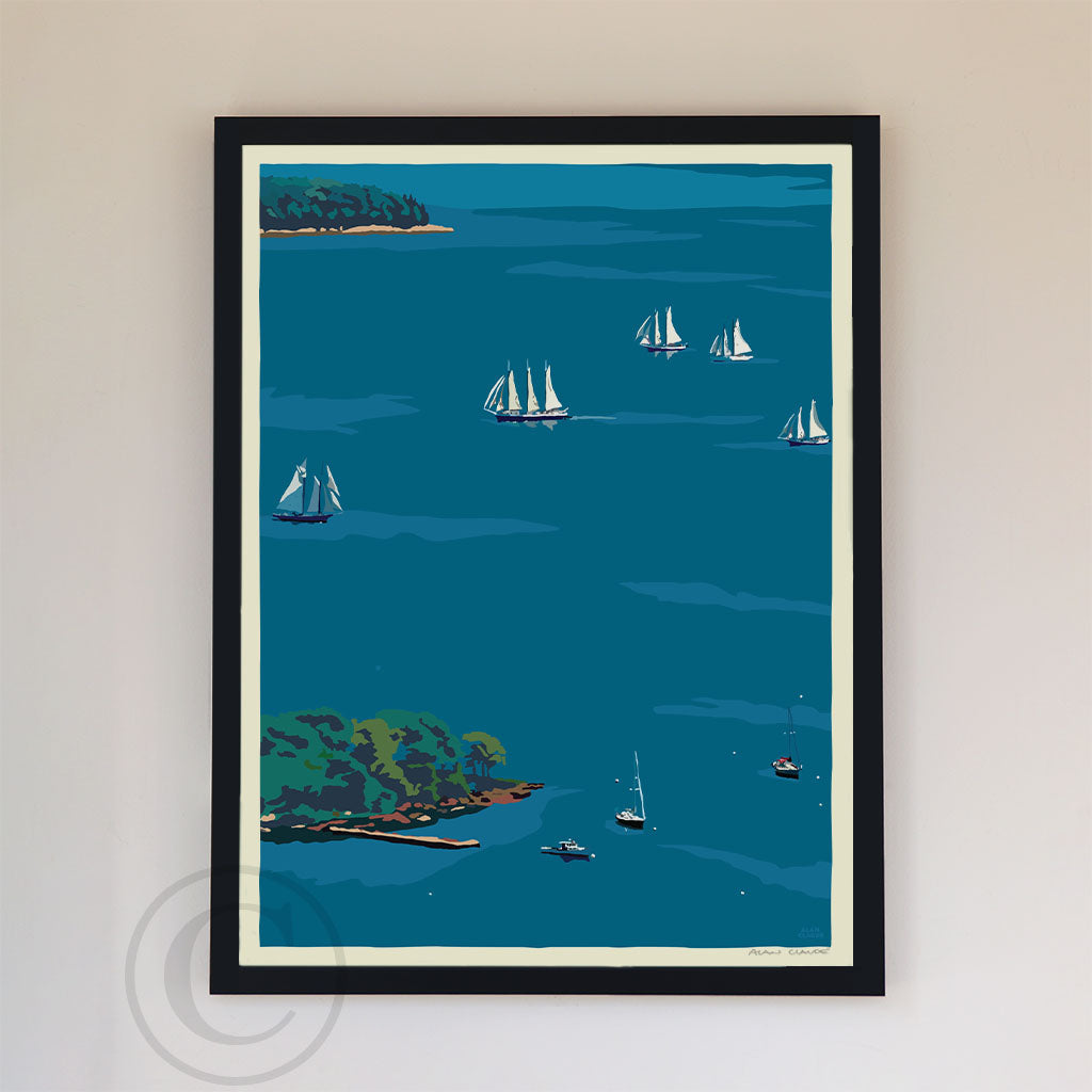 "Schooners in Camden Harbor Art Print 18"" x 24"" Framed Wall Poster - Maine By Alan Claude"
